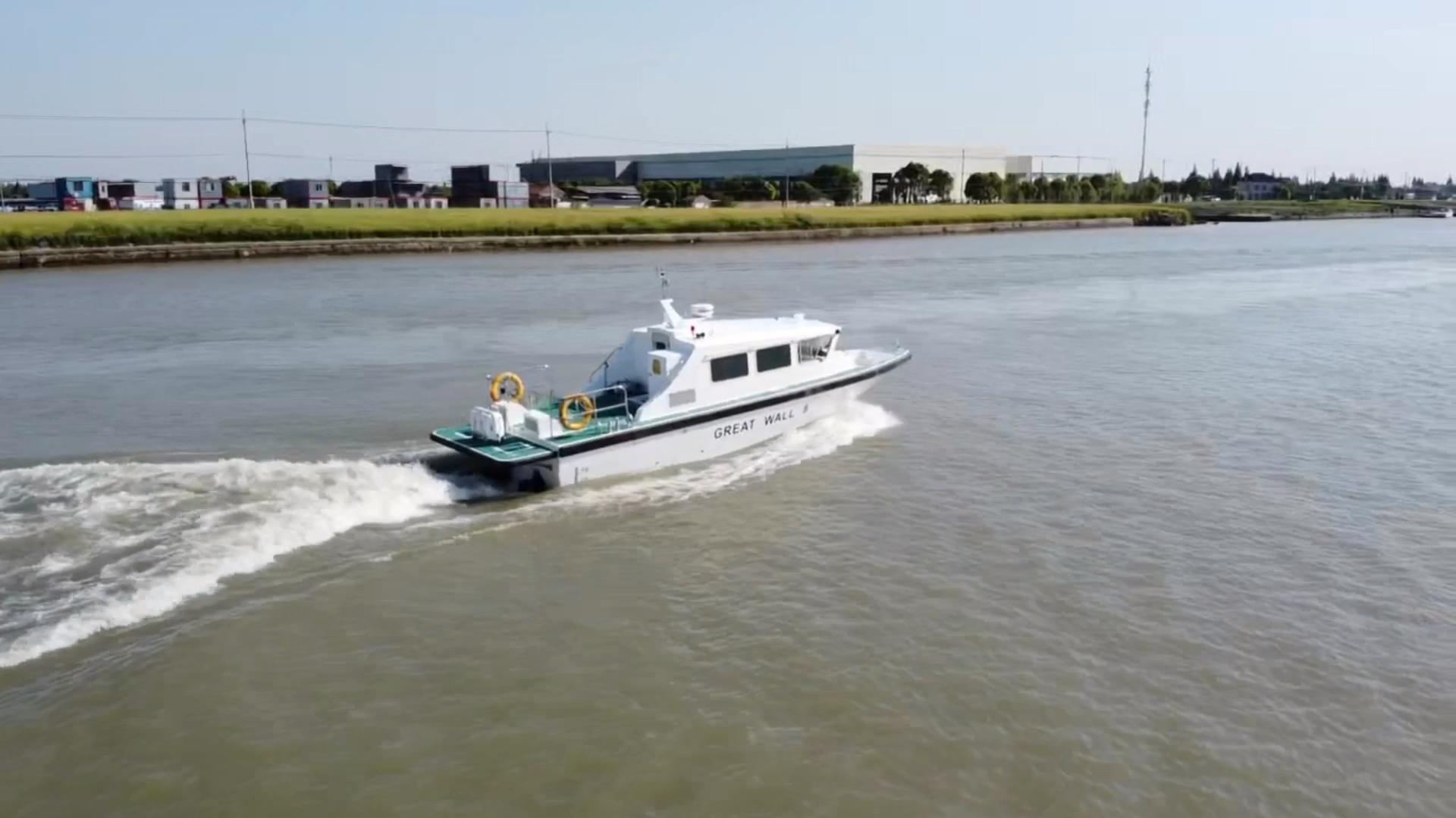星瑞出口莫桑比克12米浅吃水交通艇试航成功
